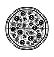 pizza top view black and white object vector image vector image