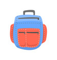 red and blue backpack rucksack for school or vector image