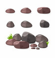 rocks stones set in cartoon style vector image
