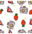 seamless pattern pocket camera strawberry and vector image vector image