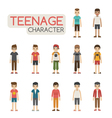 Set of cartoon teenagers characters eps10 vector image