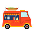street food festival hot dog trailer vector image