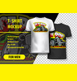 t-shirt mockup with hot rod phrase in two colors vector image