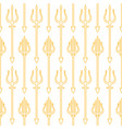trident gold outline on white background seamless vector image vector image