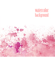 Watercolor background for layout pink splashes vector image