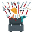white background with toolbox opened and utensils vector image
