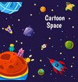 with cartoon space planets and ships vector image