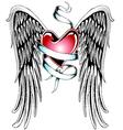 heart ribbon wing emblem vector image