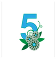 Number five with floral vector image