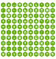 100 kids icons hexagon green vector image vector image