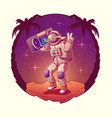 astronaut or spacemen dancing on moon disco party vector image