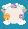 baby shower cute lion and bear with balloons vector image vector image