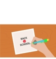 Back to school greeting card chalk text Hand vector image vector image