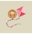 beautiful girl smiling kite design icon vector image