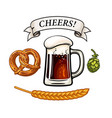 beer mug bavarian pretzel hop cone barley