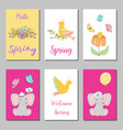 birthday cards design set with abstract flowers vector image