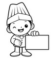 black and white cook mascot holding a business vector image vector image