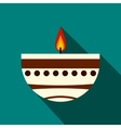 Burning candle in a clay candle holder icon vector image vector image