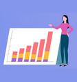 business report rising graph broker woman vector image vector image
