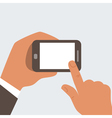 businessman hands holding mobile vector image