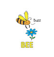 cartoon bee flashcard for children vector image