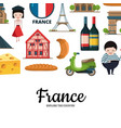 cartoon france sights and objects vector image vector image