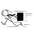 cartoon of man with briefcase running maybe late vector image