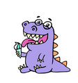 cartoon purple croc eating ice cream vector image vector image