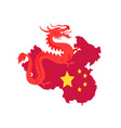 china map with borders and flag dragon creature vector image