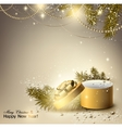 Christmas background with golden gift Xmas box vector image