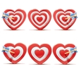 Collection of aim hearts vector image
