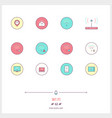 color line icon set of wifi internet objects and vector image