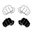 Comics style clenched man fists black and white vector image