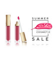cosmetics sale banner with lip-gloss and pink vector image vector image