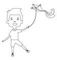 cute and little boy flying a kite vector image