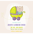 Cute Baby Cat in a Carriage - Baby Shower Card vector image