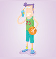drinking basketball player vector image vector image