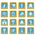 egypt travel icons set sapphirine square vector image vector image