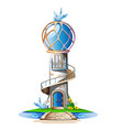 fairytale castle with a blue domed roof a balcony vector image vector image