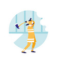 firefighter with ax avatar character vector image