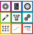 flat auto set of belt carrying brake disk and vector image vector image