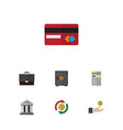 flat icon incoming set of bank calculate hand vector image vector image