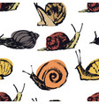 garden snails hand drawing seamless pattern vector image vector image