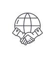 global partnership line icon concept global vector image vector image