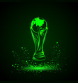 green neon soccer trophy with globe vector image vector image