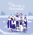 group of family with clothes christmas in winter vector image vector image