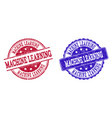 grunge scratched machine learning stamp seals vector image