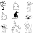 Halloween characters mummy witch zombie doodle vector image vector image