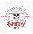 Japanese sensei skull Logo Samurai master vector image vector image