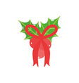 merry christmas red bow and holly berry decoration vector image vector image